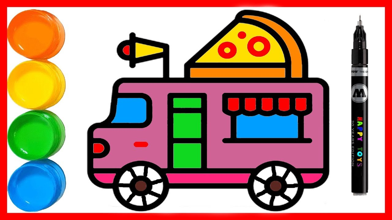 1280x720 Coloring Food Truck Toy Painting And Drawing For Kids