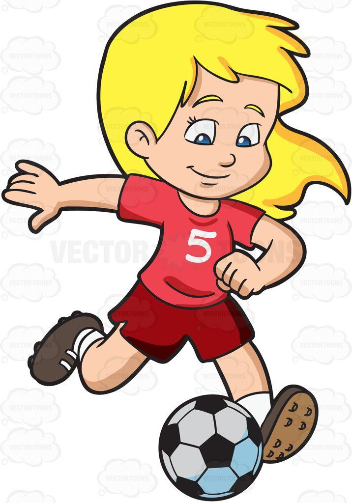 716x1024 A Girl Kicking A Soccer Ball Drawing Cartoons Football Girls