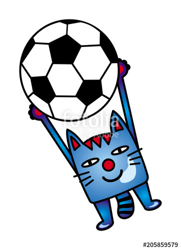 362x500 A Cartoon Blue Cat Catches A Soccer
