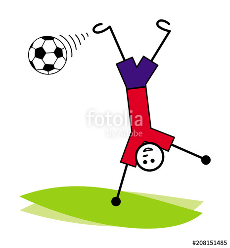 465x500 A Cartoon Man, A Football Player Hits The Ball Upside Down