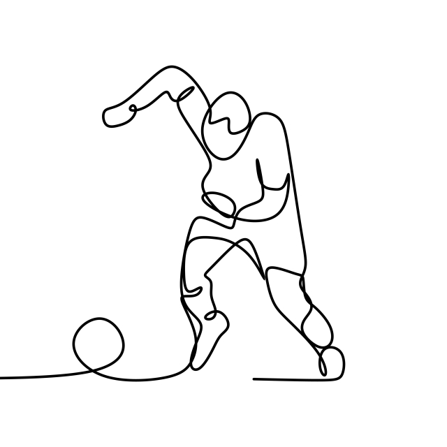 640x640 Continuous Line Drawing Of A Man Kick A Ball During Football Game