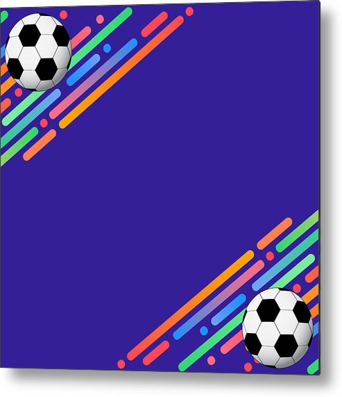 493x571 Football On Colorful Background Poster Soccer Template Metal