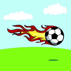 240x240 Burning Vector Football Flying In The Air And Drawing Flames
