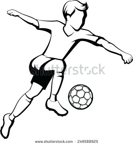 434x470 Black White Outline Boy Kicking Soccer Stock Vector Royalty Free