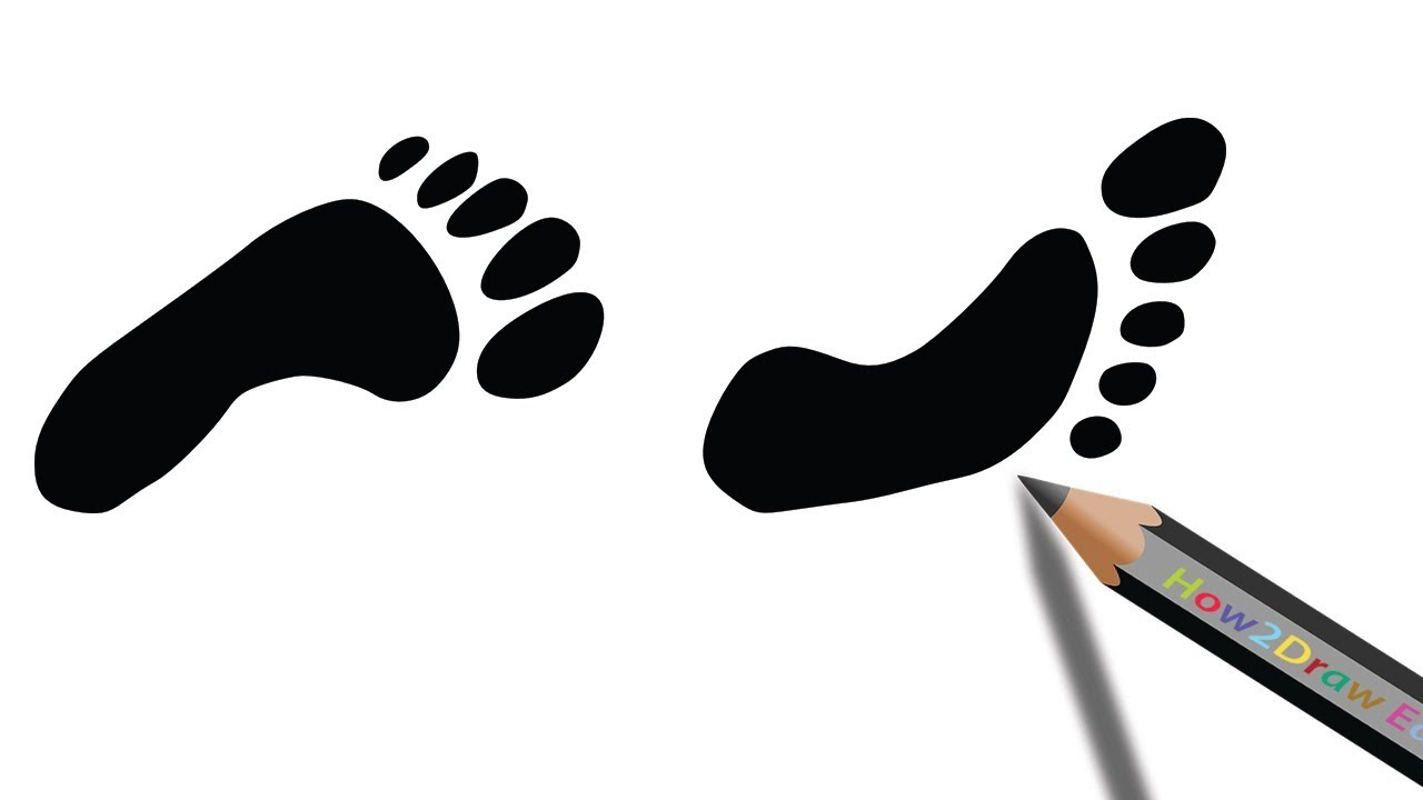 1280x720 How To Draw Footprints Easy Silhouette Drawing