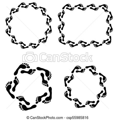 450x470 Circle Footprint Frames Set Set Of Frames With Prints Barefooted