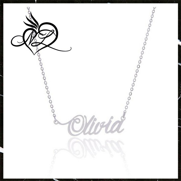 600x600 Fashionable Dainty Cursive Curved Name Necklace, Amy