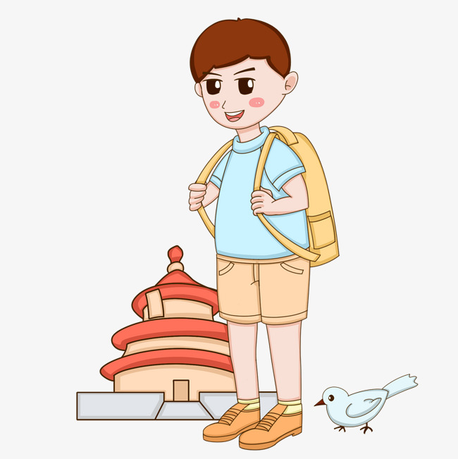 650x651 forbidden city tourist character cartoon illustration image