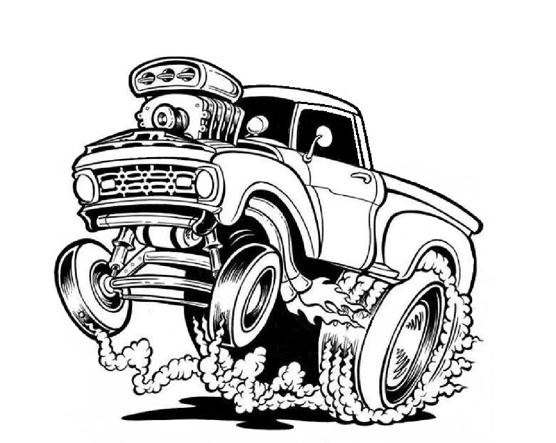 1090x869 ford pickup drawings hot rod pickup, monster truck coloring