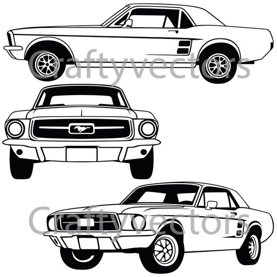 570x570 ford mustang coupe vector ornament mustang drawing