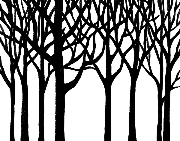 600x471 Black N White Forest Greeting Card For Sale