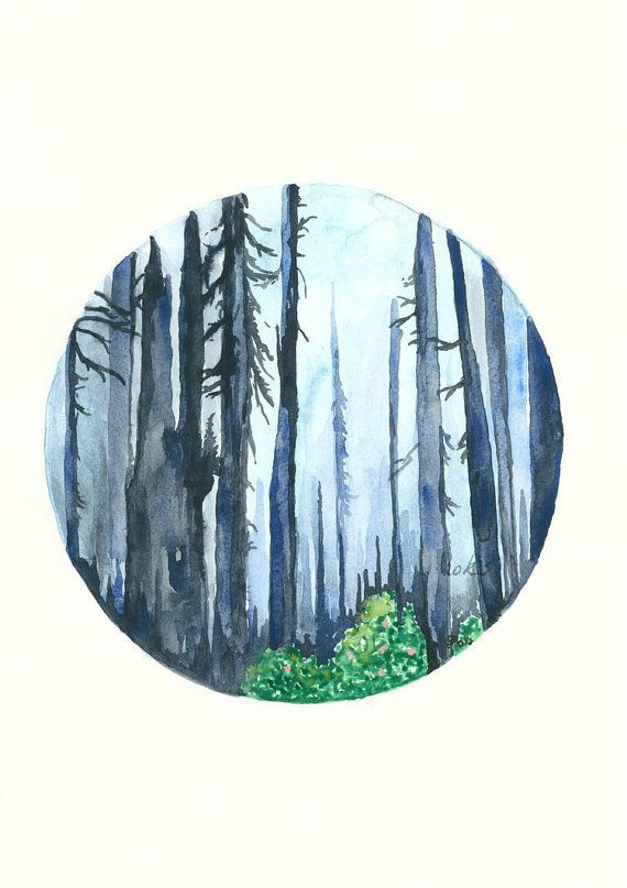 570x807 blue forest art print, watercolor painting forest painting