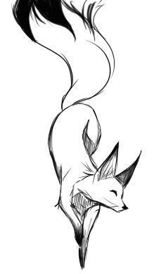 Fox Black And White Drawing