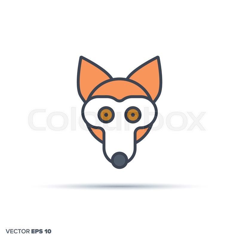 800x800 Cute Fox Face Outline Vector Icon With Stock Vector Colourbox
