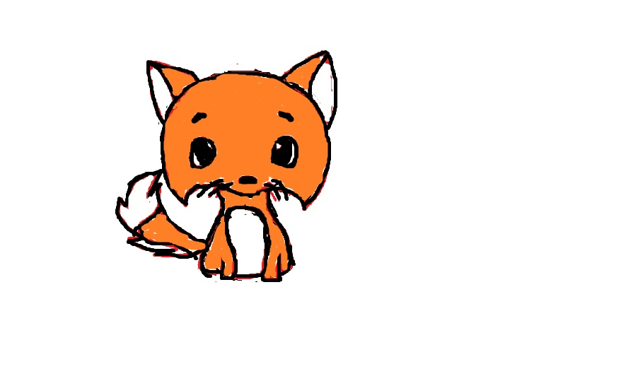 878x546 A Cute Little Fox Drawing