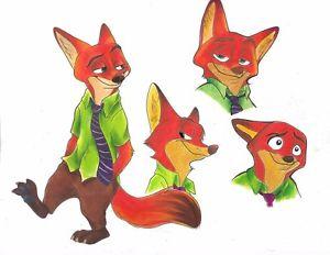 300x232 Original Art Nick Wilde Zootopia Drawing Cute Fox Disney