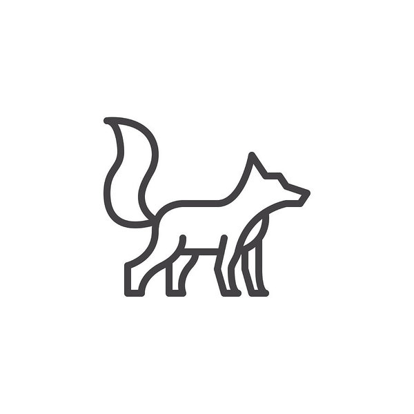 600x600 Fox Line Icon, Outline Vector Sign, Linear Style Pictogram