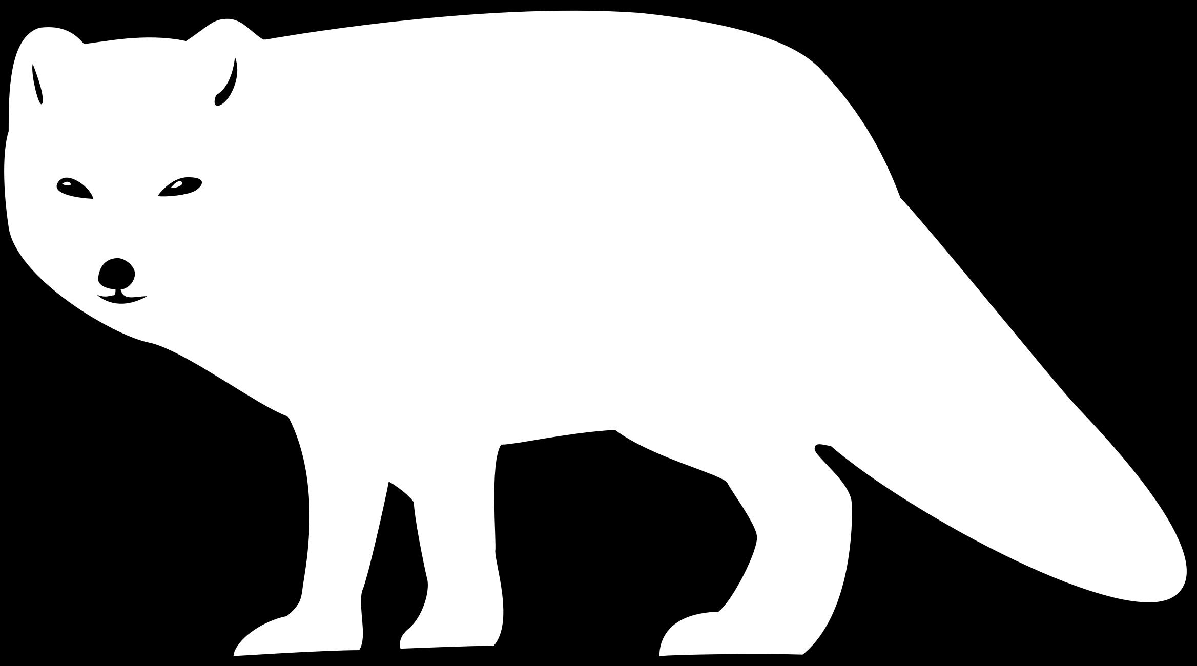 2336x1300 Fox Black And White Arctic Fox Clipart