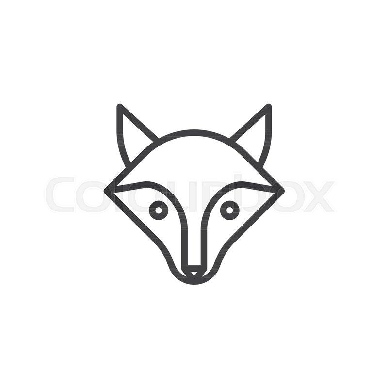 800x800 Fox Head Line Icon, Outline Vector Stock Vector Colourbox