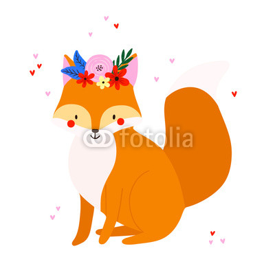 400x400 Cute Vector Drawing Of A Fox With Flowers Lovely Illustration