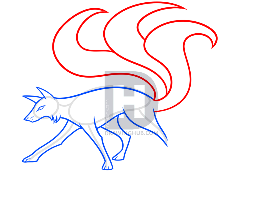 893x720 Drawing A Kitsune Fox, Step