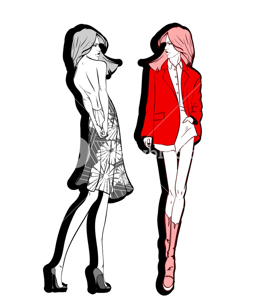 843x1000 fashion illustration stylish fashion models fashion girls set