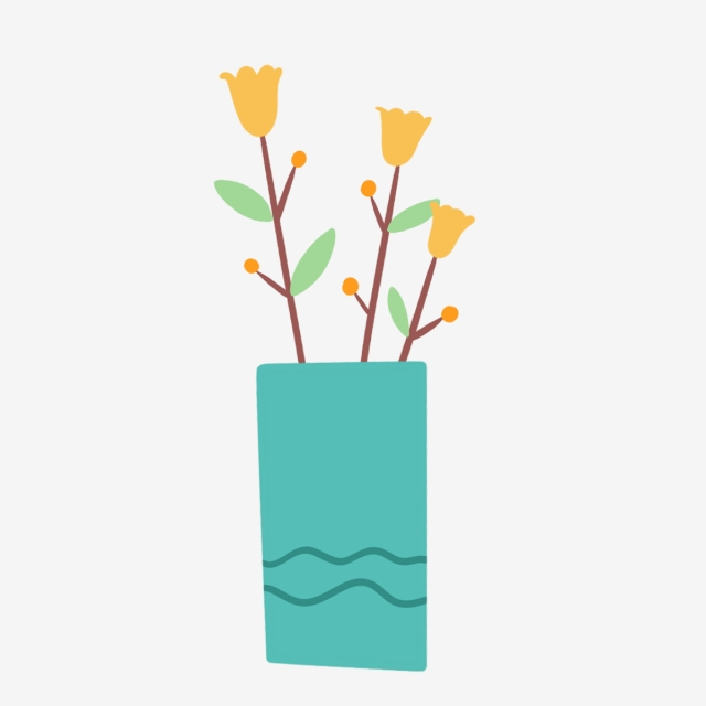 640x640 hand drawn cute yellow flowers in vase, nature, hand drawn