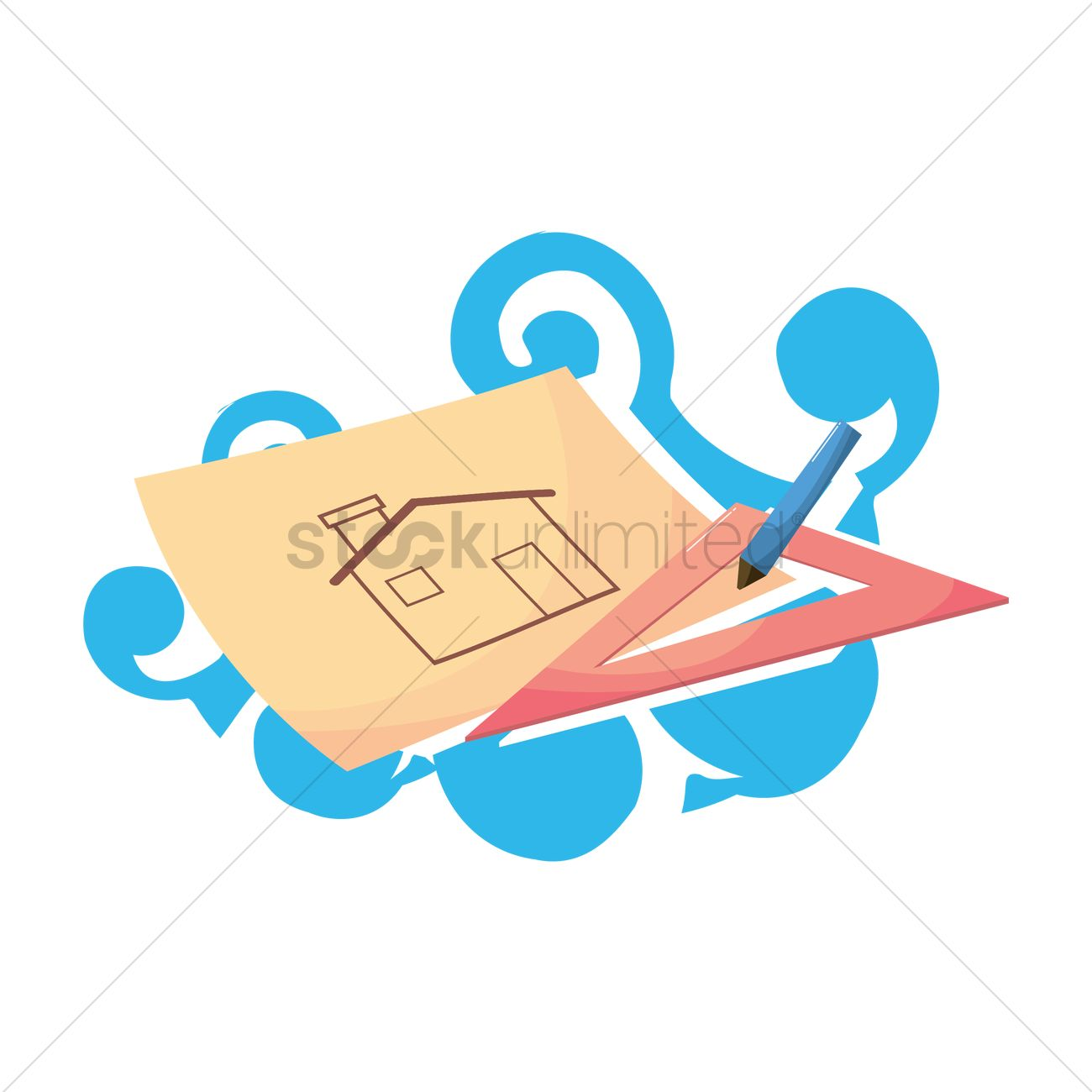 1300x1300 Free House Drawing On Paper Vector Image
