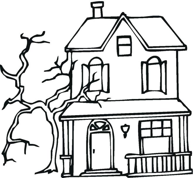 660x606 haunted house coloring how to drawing haunted house coloring
