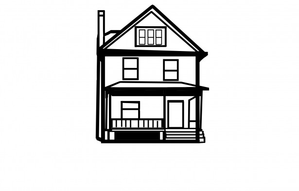 615x393 House Line Drawing Free Stock Photo