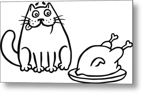492x325 Cute Cat And Fried Chicken On The Table Isolated Vector