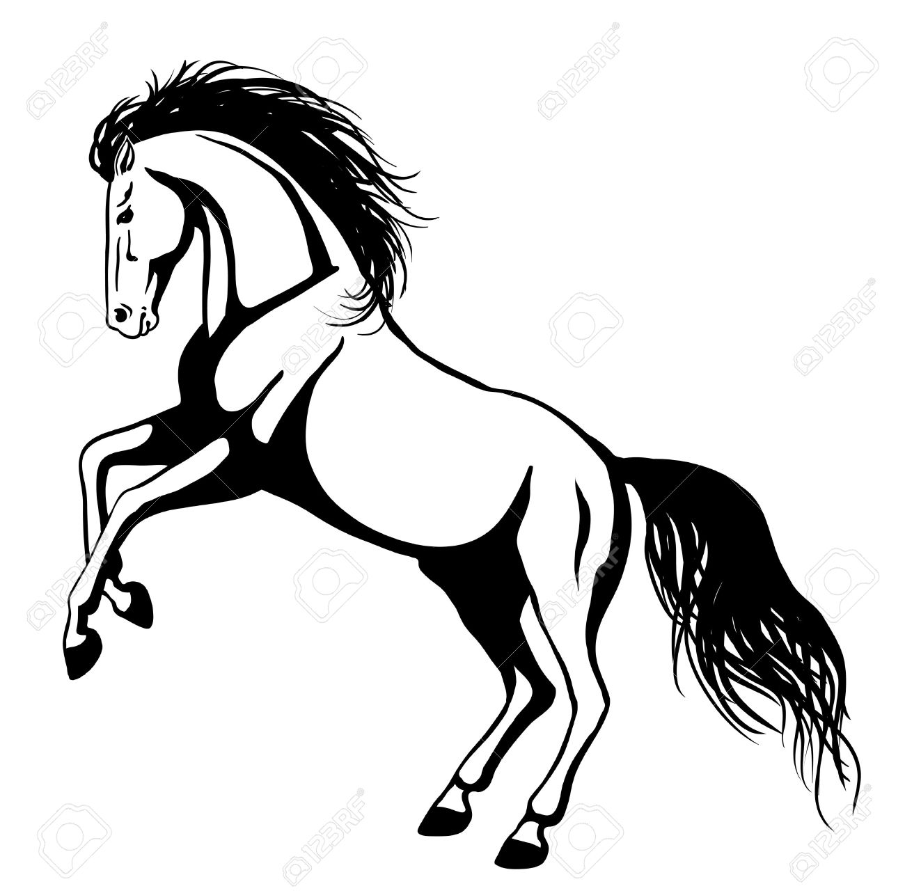 1300x1283 horse lineart mustang horse for free download