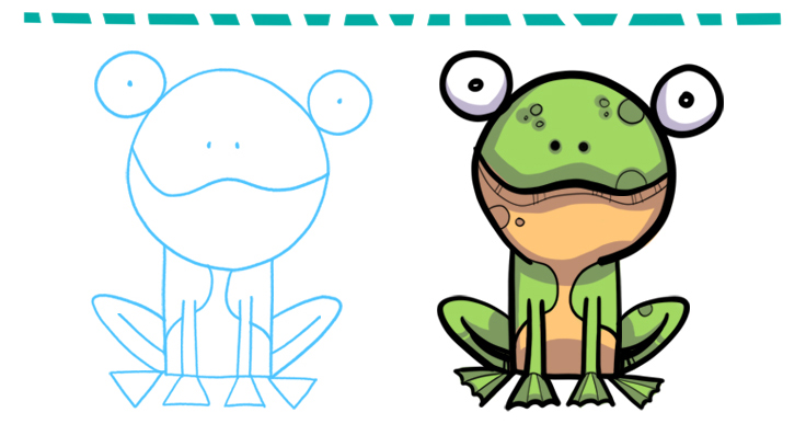 736x408 How To Draw A Cartoon Frog