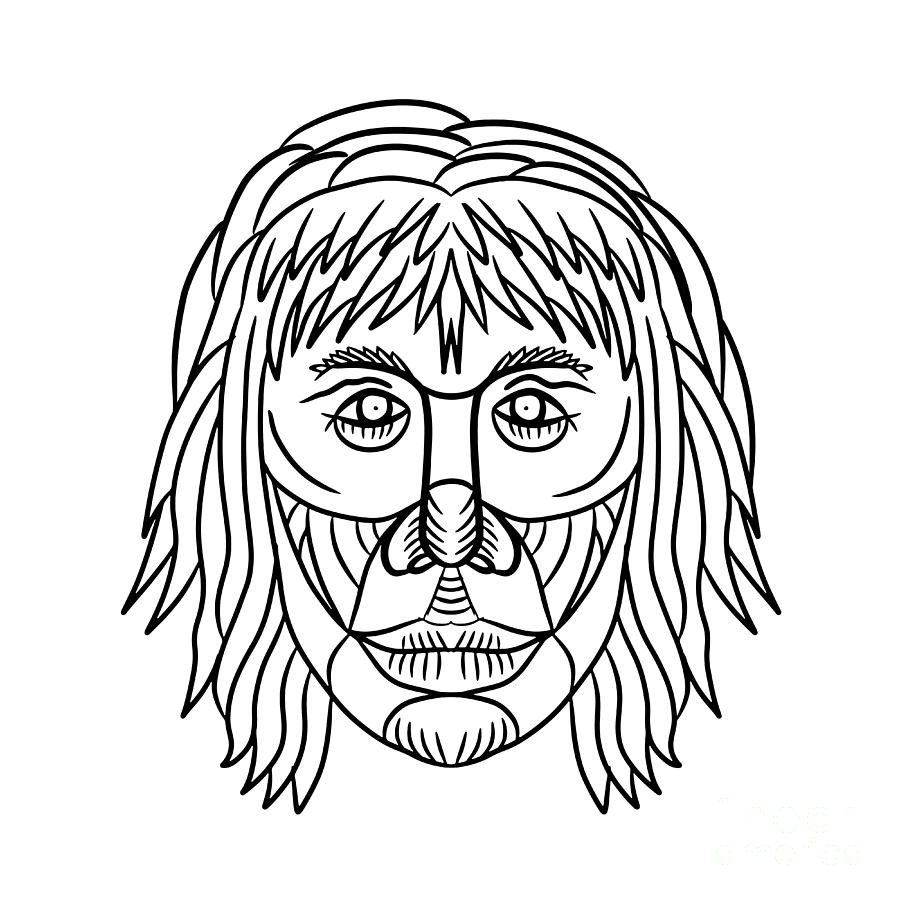900x900 Homo Habilis Face Front Drawing Digital Art