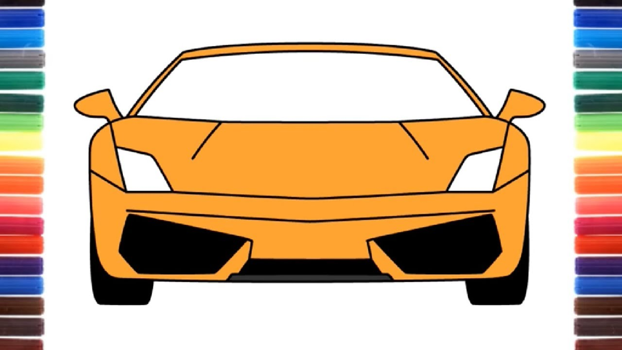1280x720 How To Draw A Car Lamborghini Gallardo Front View