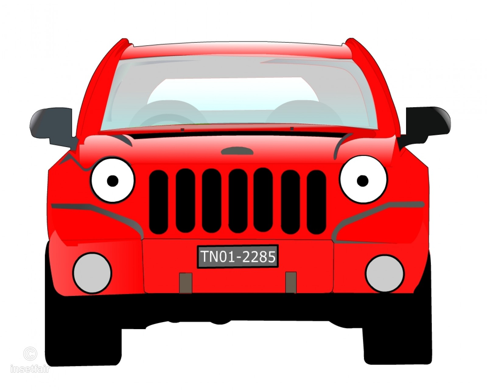 1600x1281 Red Suv Car Front View Vector Drawing
