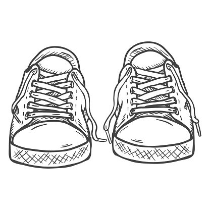 416x416 Vector Sketch Illustration Pair Of Casual Front View Stock Vectors