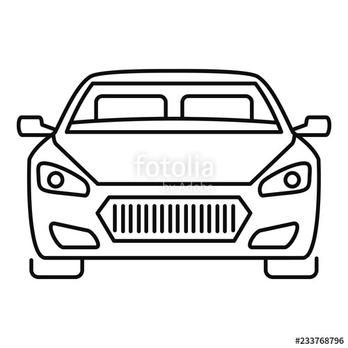 500x500 front modern car icon outline front modern car vector icon