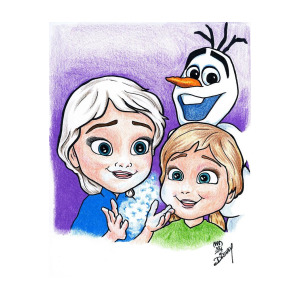 300x300 frozen young anna and young elsa drawing