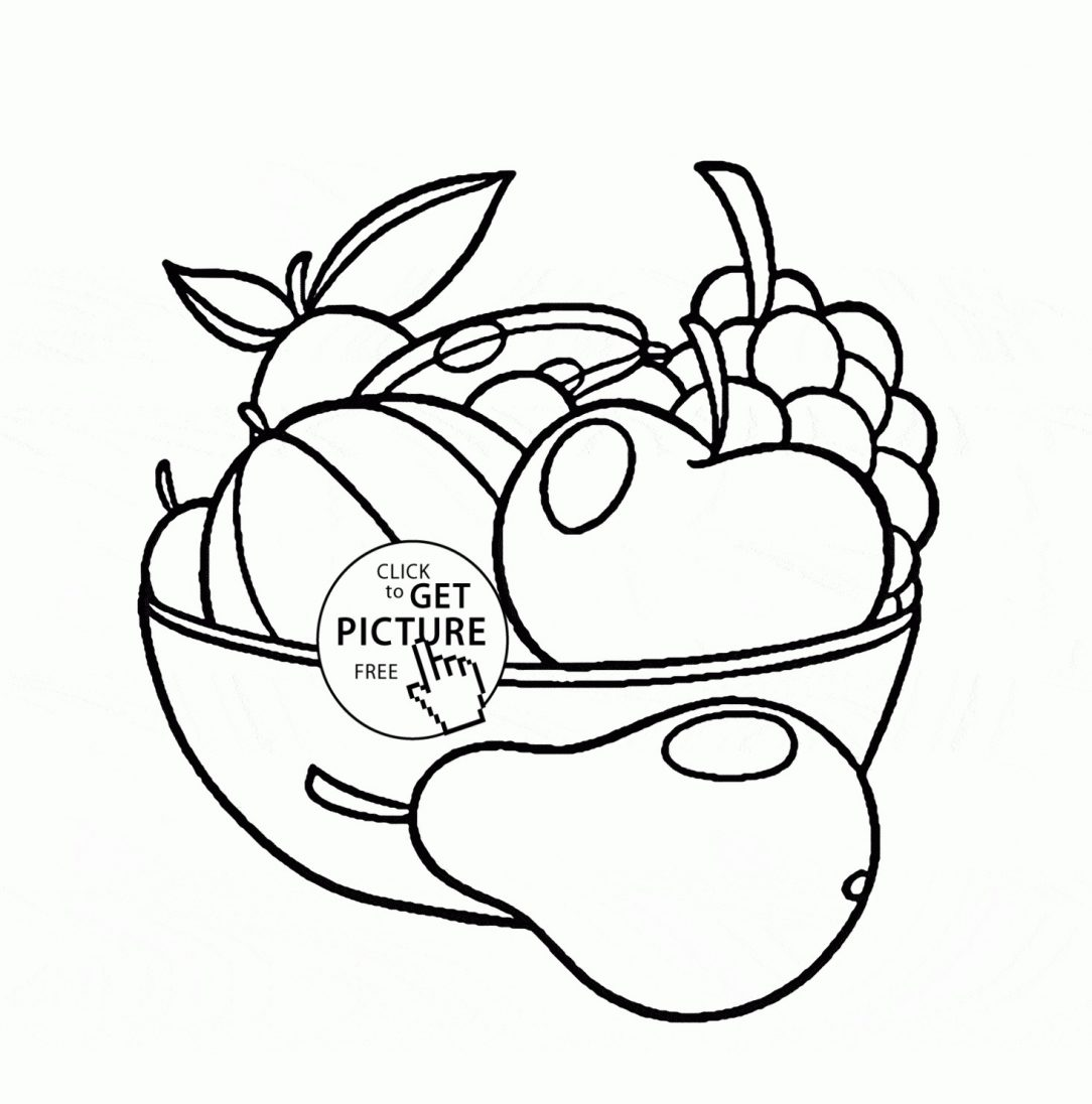 1084x1096 Fruit Basket Drawing For Class Of Flowers Outline Pages On Paper