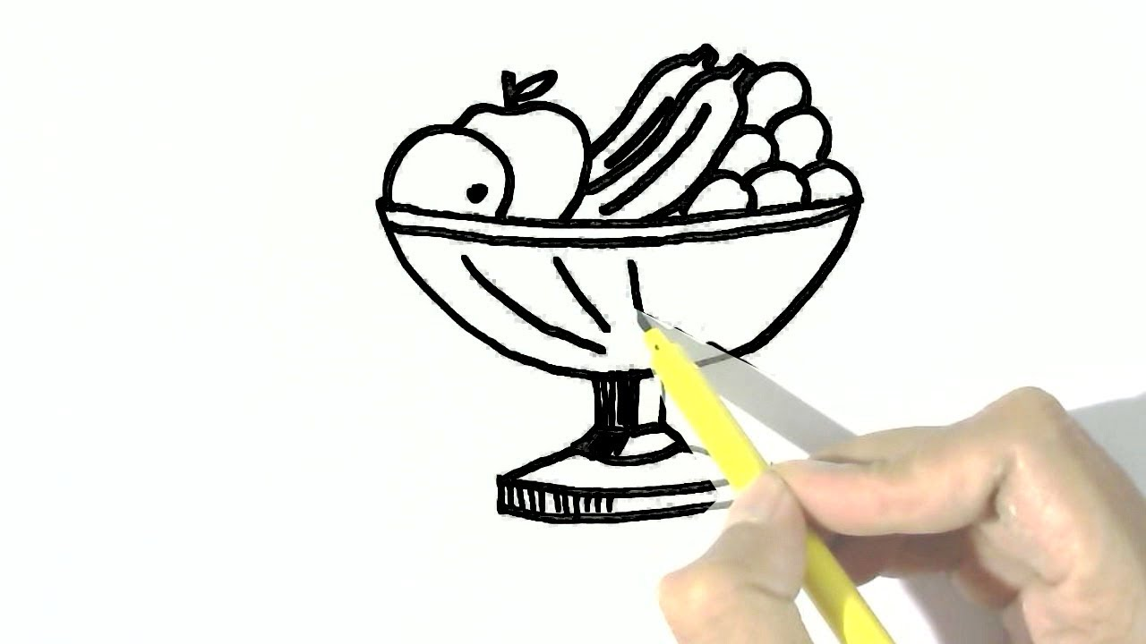 1280x720 How To Draw Fruit Bowl In Easy Steps For Children, Kids, Beginners