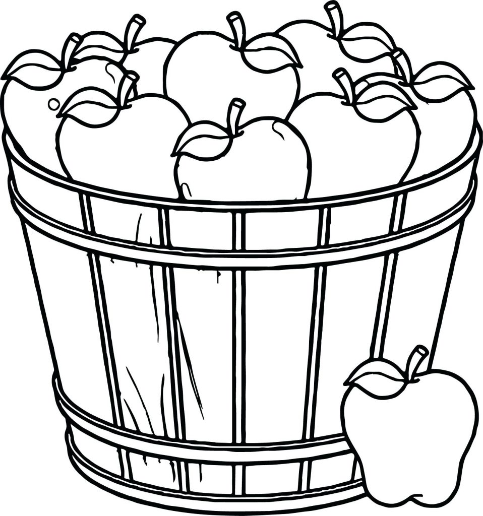 958x1024 Basket With Apples Coloring