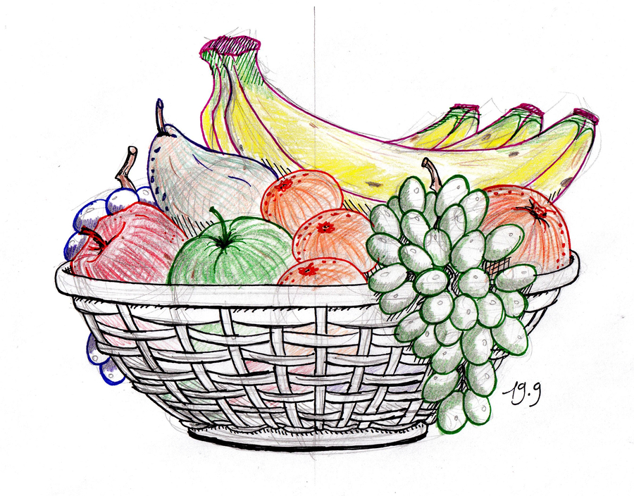 900x704 Download Fruit Basket Drawing Clipart Drawing How To Draw Sketch