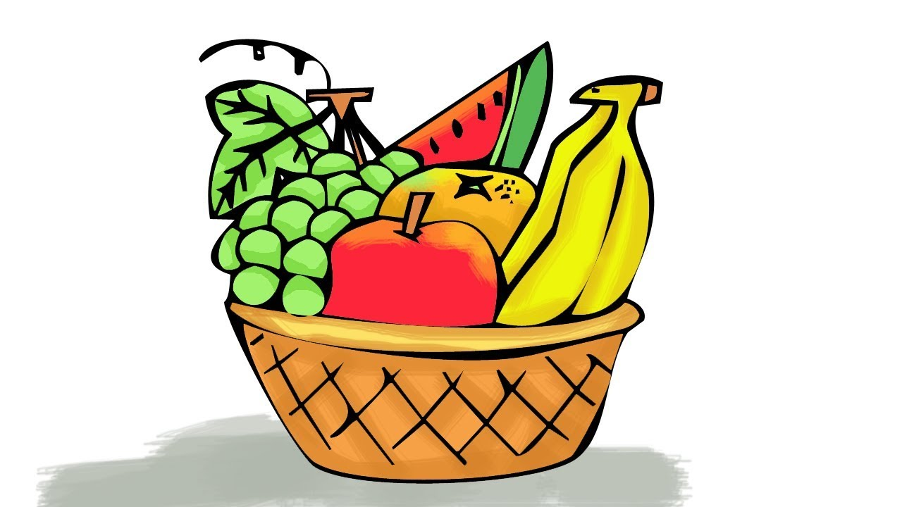 1280x720 Haw To Draw A Fruit Basket Step