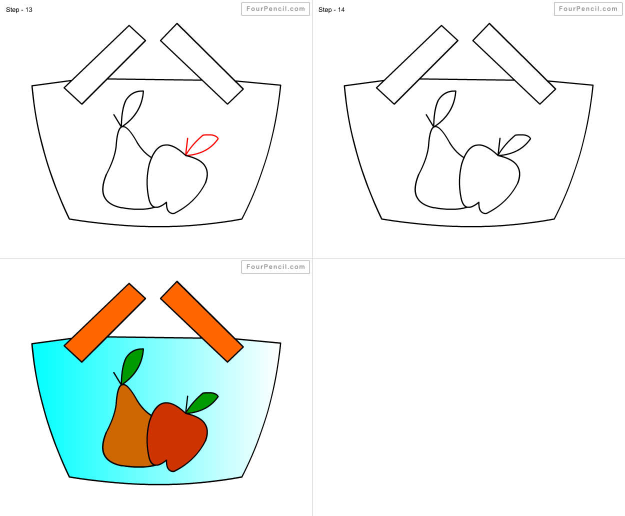 1250x1032 How To Draw Fruit Basket For Kids Step