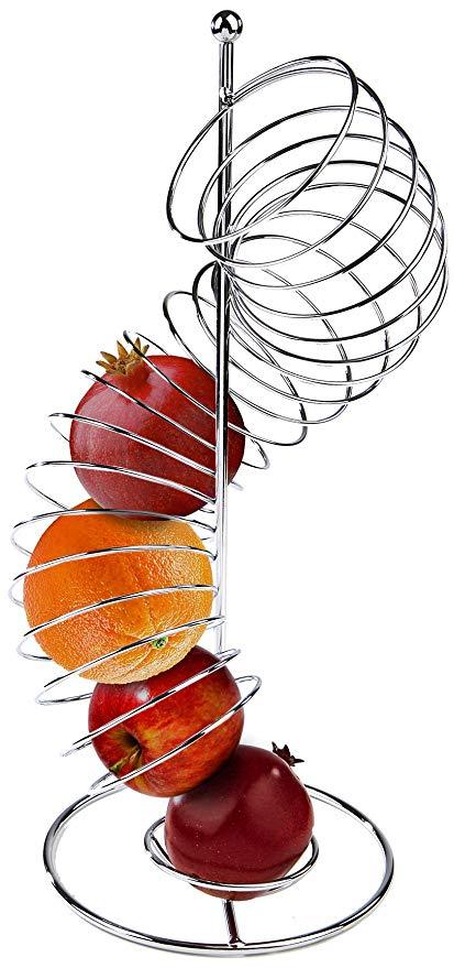 413x879 Mind Reader Spiral Fruit Basket, Stainless Steel
