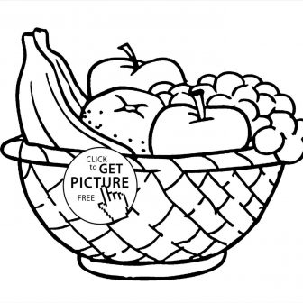 336x336 Fruit Basket Drawing For Class Of Flowers Outline Pages On Paper