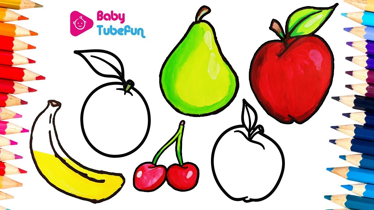 1280x720 How To Draw Fruits And Vegetables And Colouring Dresses For Kids