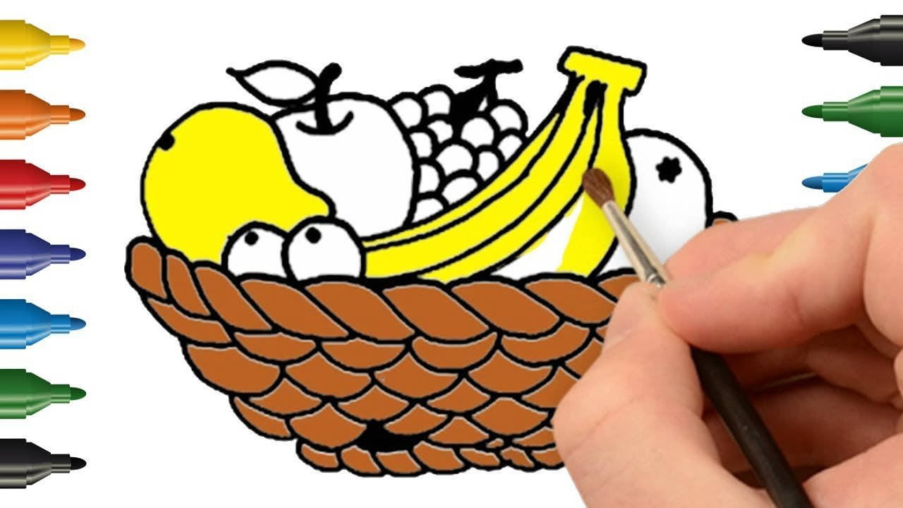 1280x720 How To Draw Fruit Basket Learn Colors For Babies Kids Coloring