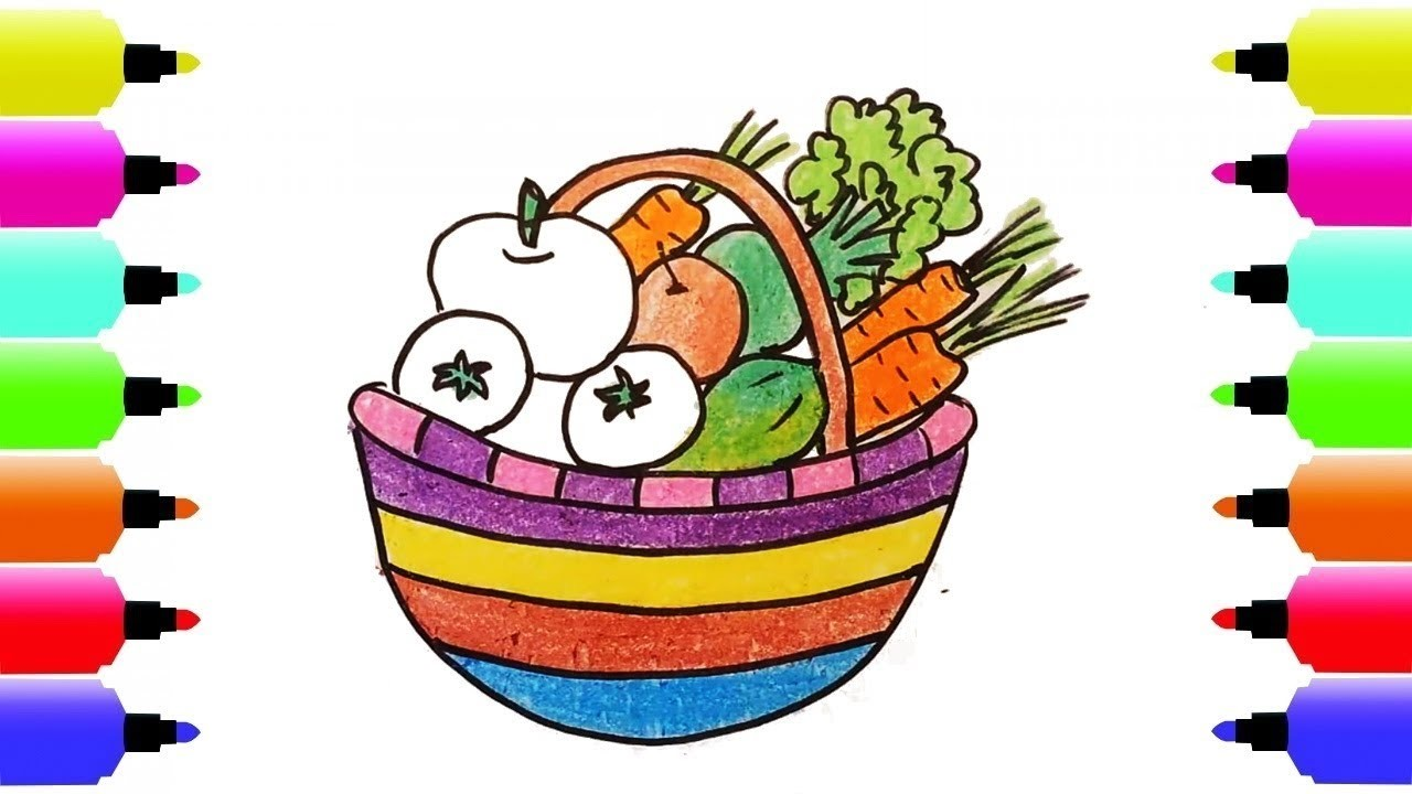 1280x720 How To Draw Fruits Basket, Coloring Pages Fruits, Art Colours